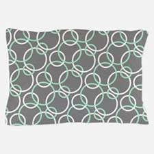 Mint White Gray Circles Pillow Case