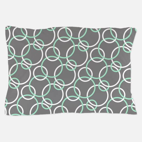 Mint White Gray Circles Pillow Case