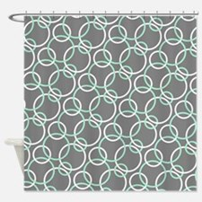 Mint Green And Gray Shower Curtains | Mint Green And Gray Fabric ...