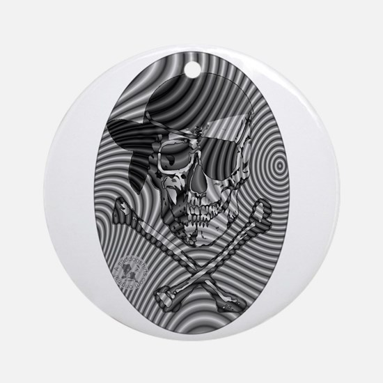 Moire Op Art Pirate Ornament (Round)