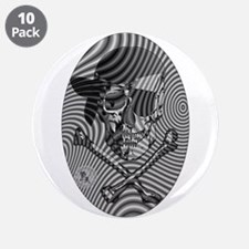 "Moire Op Art Pirate 3.5"" Button (10 pack)"