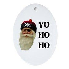 PIRATE SANTA Oval Ornament