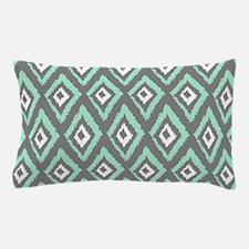 Modern Mint Gray Ikat Pillow Case