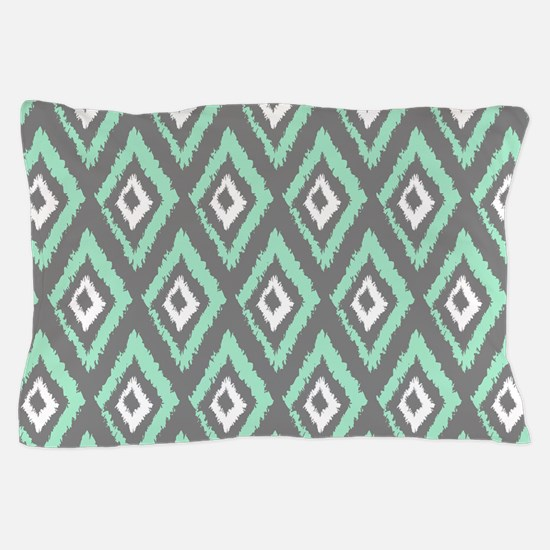 Modern Mint Gray Ikat Pillow Case
