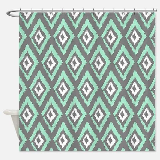 mint green shower curtain. Modern Mint Gray Ikat Shower Curtain And Green Curtains  CafePress