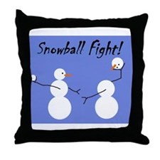 Snowball Fight! Throw Pillow