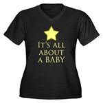 about a baby Women's Plus Size V-Neck Dark T-Shirt