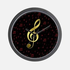 golden music notes in red and black Wall Clock