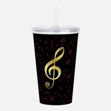 golden music notes in Acrylic Double-wall Tumbler