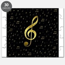 golden musiv notes in black Puzzle
