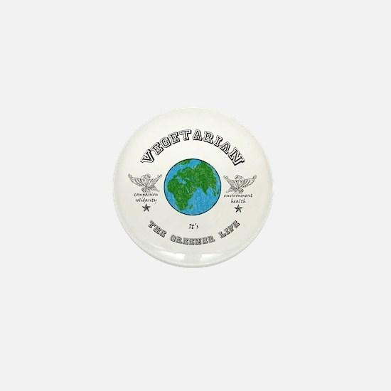 Vegetarian -it's the greener life. Mini Button