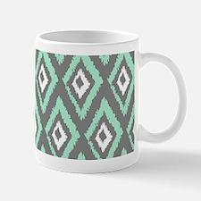 Modern Mint Gray Ikat Mugs