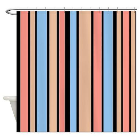 Bole Orange Blue Beige Black Stripe Shower Curtain By