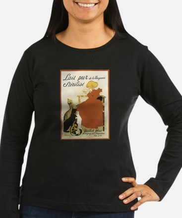 Girl and Cats Vintage Poster T-Shirt