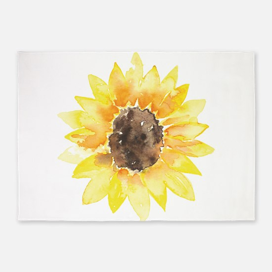 Cute Yellow Sunflower 5'x7'Area Rug