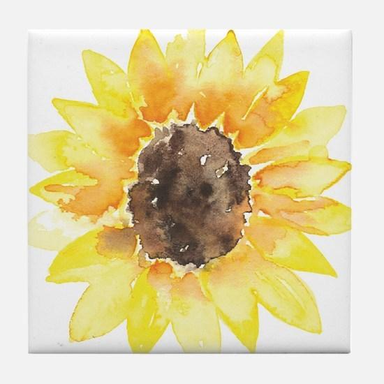 Cute Yellow Sunflower Tile Coaster