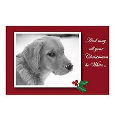 Golden White Christmas Postcards