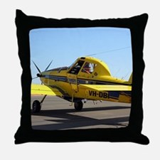 Air Tractor aircraft (yellow and blue Throw Pillow