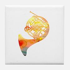 Watercolor Horn Tile Coaster