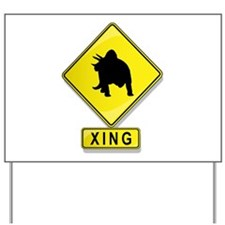 Triceratops XING Yard Sign