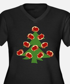 Meat Christmas Tree Women's Plus Size V-Neck Dark