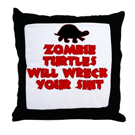 Zombie Turtle Throw Pillow