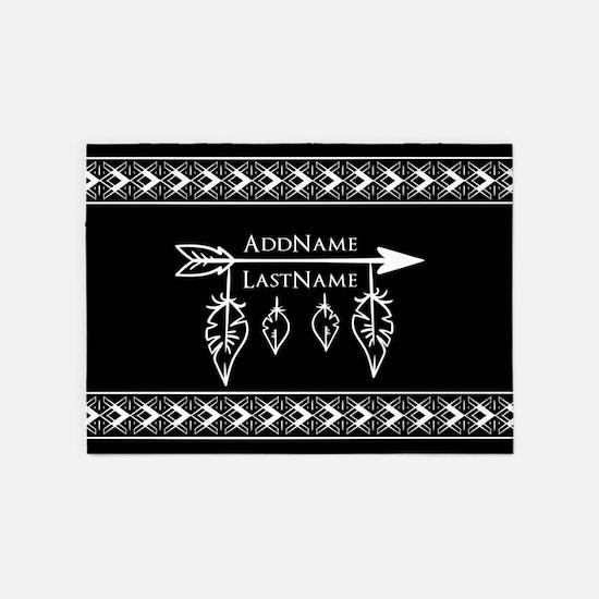 White on Black Bohemian Arrow Feath 5'x7'Area Rug