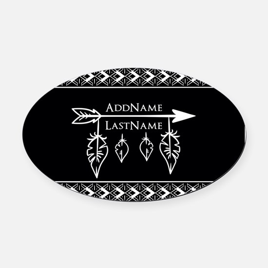 White on Black Bohemian Arrow Feat Oval Car Magnet
