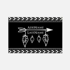 White on Black Bohemian Arrow Fea Rectangle Magnet