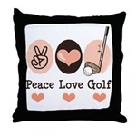 Peace Love Golf Golfing Throw Pillow