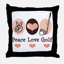 Peace Love Golf Golfing Throw Pillow