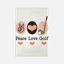 Peace Love Golf Golfing Rectangle Magnet