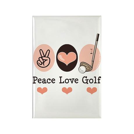 Peace Love Golf Golfing Rectangle Magnet (10 pack)
