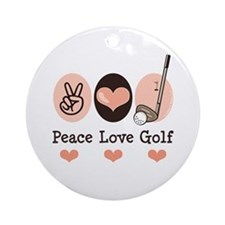 Peace Love Golf Golfing Ornament (Round)