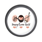 Peace Love Golf Golfing Wall Clock