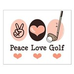 Peace Love Golf Golfing Small Poster