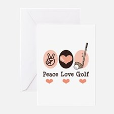 Peace Love Golf Golfing Greeting Cards (Pk of 10)