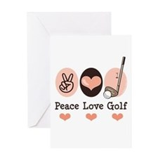 Peace Love Golf Golfing Greeting Card