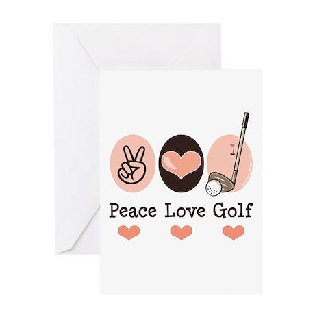 Peace Love Golf Golfing Greeting Card