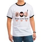 Peace Love Golf Golfing Ringer T