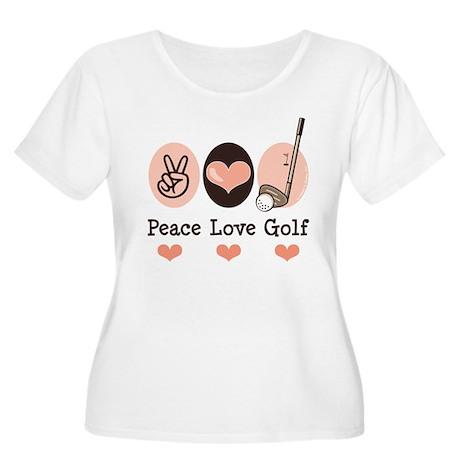 Peace Love Golf Golfing Women's Plus Size Scoop Ne