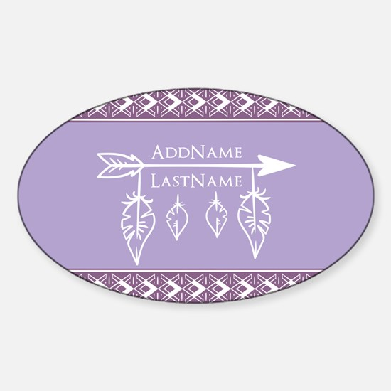 Fathers and Arrow Monogram Name Sticker (Oval)