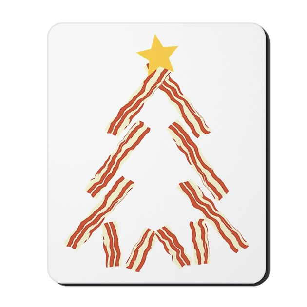 Bacon christmas tree mousepad by trendyteeshirts for Bacon christmas tree decoration