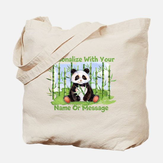 PERSONALIZED Panda With Bamboo Tote Bag