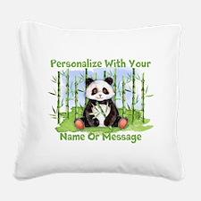 PERSONALIZED Panda With Bamboo Square Canvas Pillo