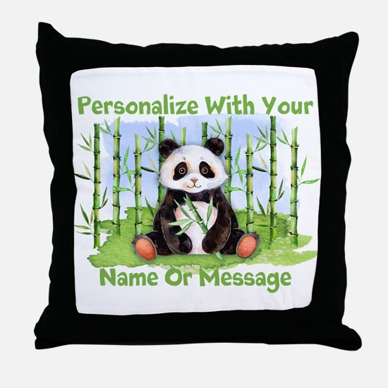 PERSONALIZED Panda With Bamboo Throw Pillow