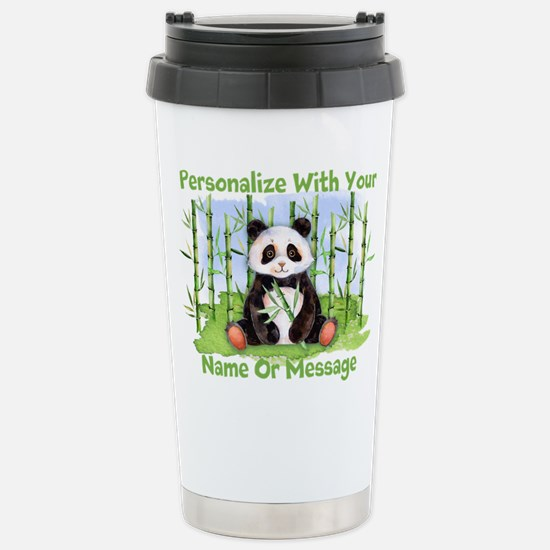PERSONALIZED Panda With Bamboo Travel Mug