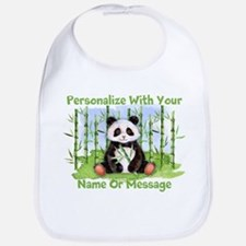 PERSONALIZED Panda With Bamboo Bib