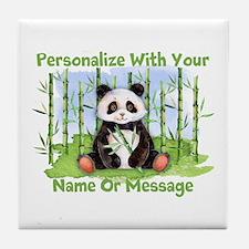 Personalized Panda Bamboo Tile Coaster