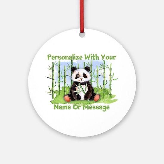 Personalized Panda Bamboo Round Ornament